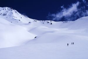 Mount Shasta and Skiers, Avalanche Gulch